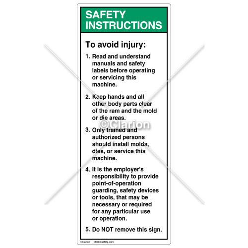 Safety Instructions/To Avoid Injury Label (8135-03SVP-58)