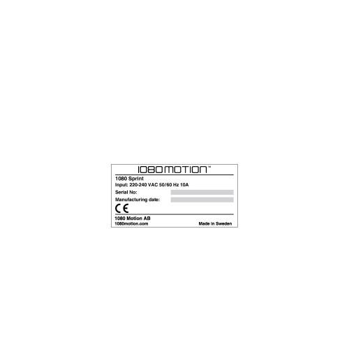 1080 Sprint Data Plate Label (C30609-12)