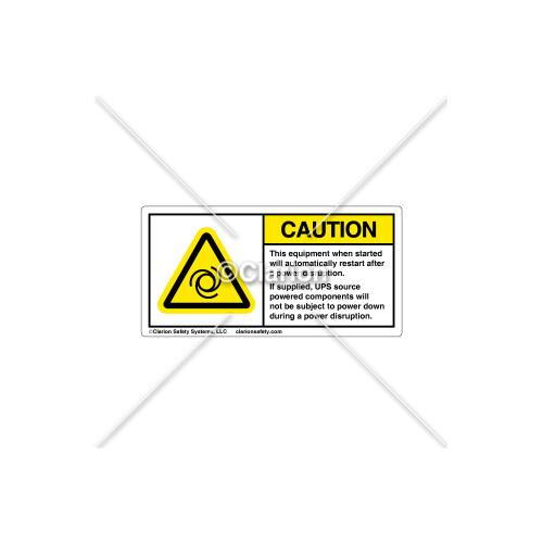 Caution/Auto Restart Label (H6045-C73EHPK)