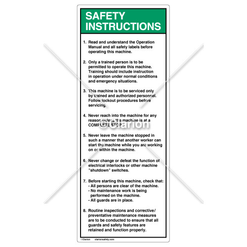 Safety Instructions/Read and Understand Label (7002-DRSVB-58)