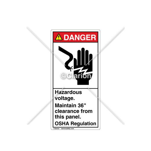 Danger/Hazardous Voltage Label (1023-T7DVPJ Wht)