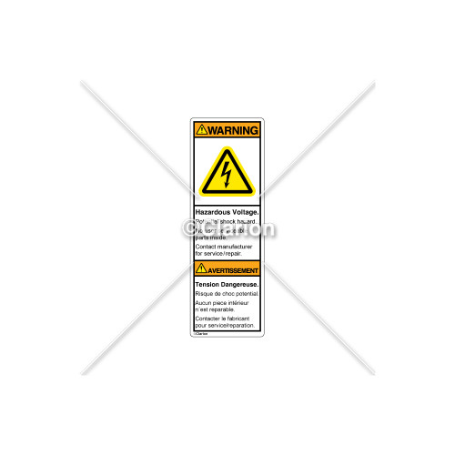 Warning/Hazardous Voltage Label (C7406-06)
