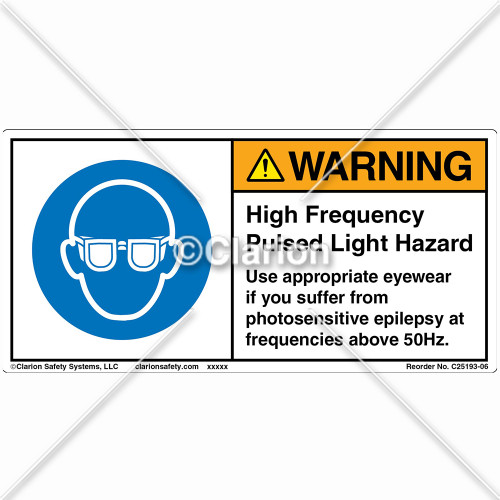 Warning/High Frequency Pulsed Label (C25193-06)