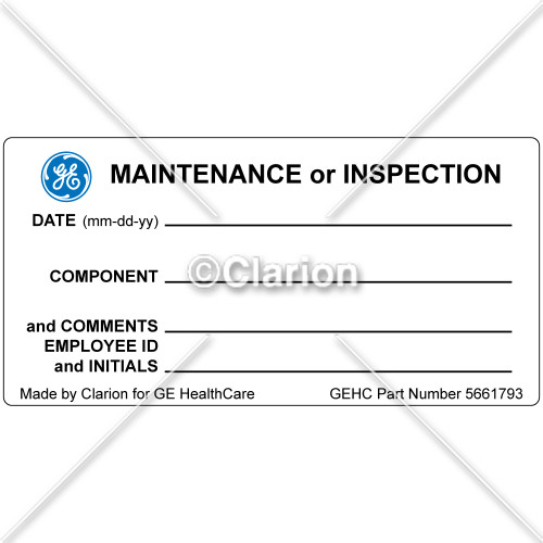 GE Equipment Maintenance Label (5661793)