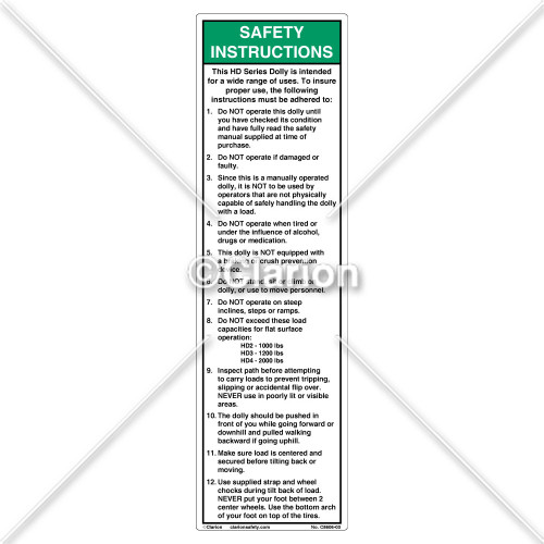 Safety Instructions (C8606-03)