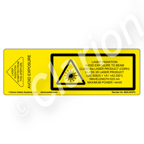 Laser Radiation Avoid Exposure (8850-05HPU)