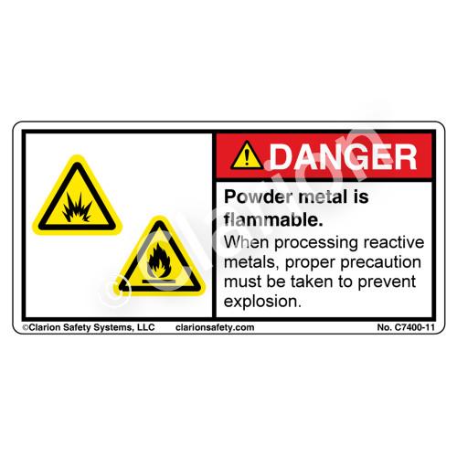 Danger/Powder Metal Is Flammable Label (C7400-11)