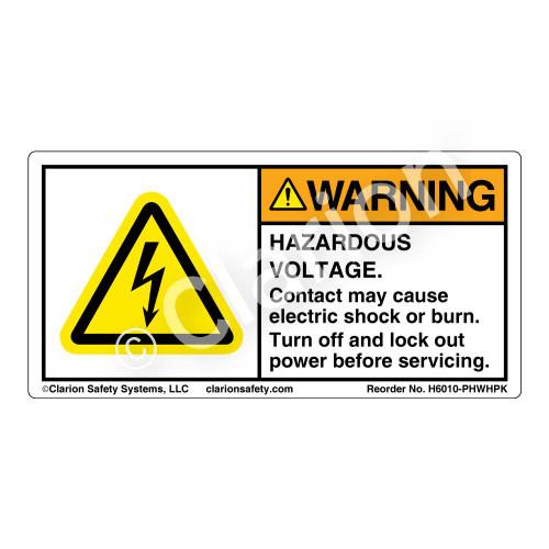 Warning/Hazardous Voltage (H6010-PHWHPK)