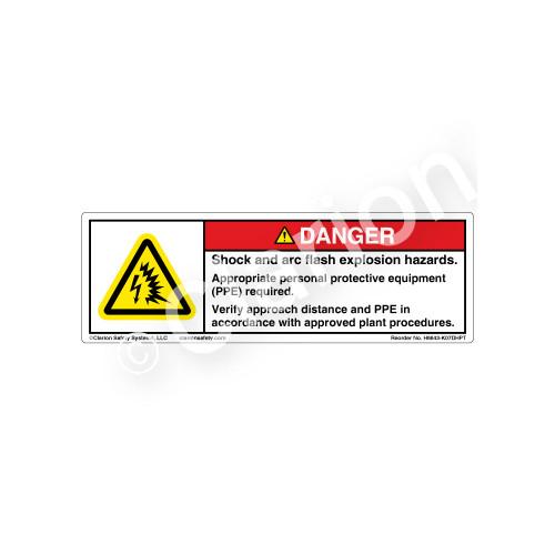 Danger/Shock And Arc Flash Safety Label (H6643-K07DHPT)
