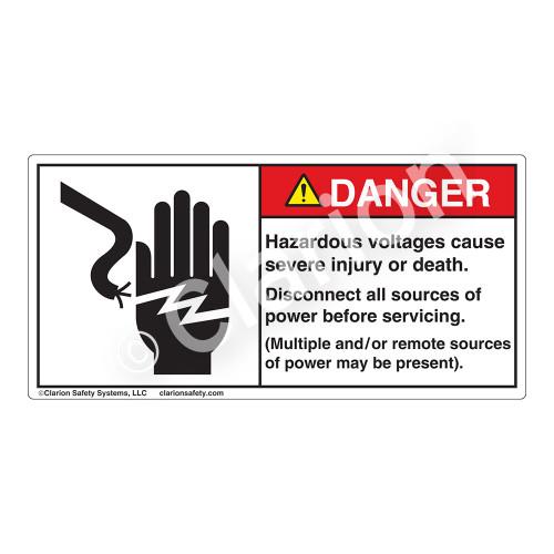 Danger/Hazardous Voltages Label (1023-90DHP)