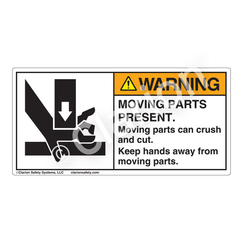 Warning/Moving Parts Present Label (1191-PEWH)