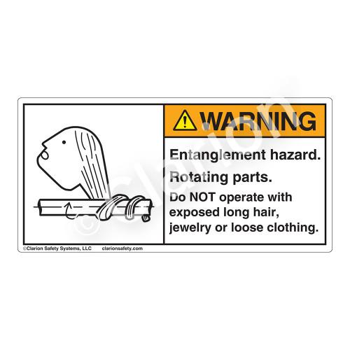 Warning/Entanglement Hazard Label (3022-28WH)