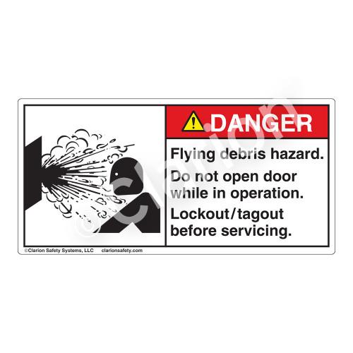 Danger/Flying Debris Hazard Label (4019-WPDHP)