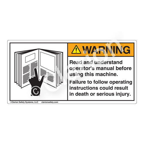 Warning/Read and Understand Label (6001-36WHP)