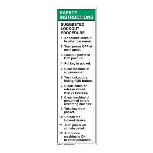 Safety Instructions/Suggested Lockout Label (7000-01SVP-)