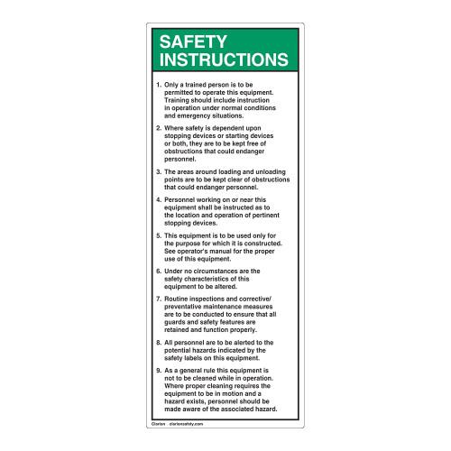 Safety Instructions 1-9 Label (7000-526SVP-)