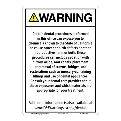 CA Prop 65 Dental Care Exposure Sign (CA65-DCE1-)