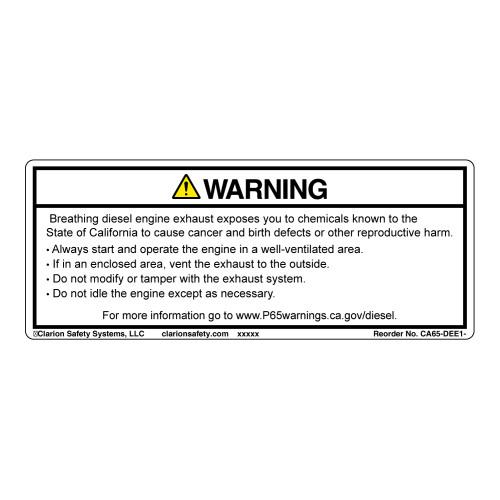 CA Prop 65 Diesel Engine Exposure Label (CA65-DEE1-)