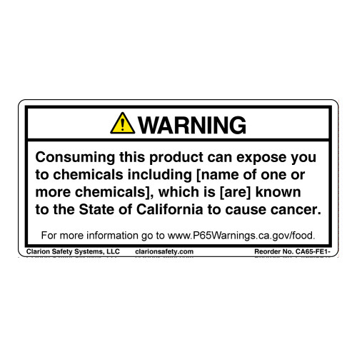 CA Prop 65 Food Exposure Label (CA65-FE1-)