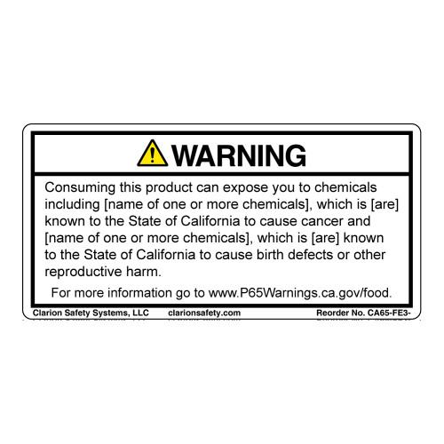 CA Prop 65 Food Exposure Label (CA65-FE3-)