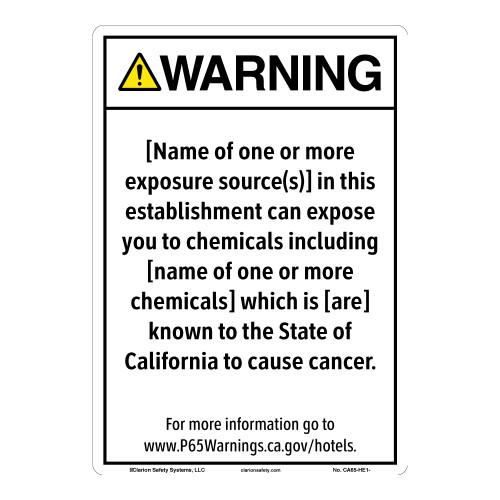 CA Prop 65 Hotel Exposure Sign (CA65-HE1-)