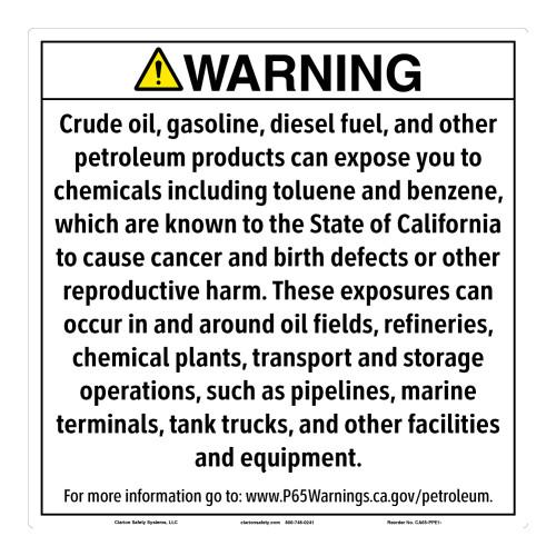 CA Prop 65 Petroleum Products Exposure Sign (CA65-PPE1-)