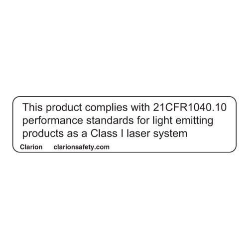 This Product Complies with 21CFR1040.10 Label (CDRH1001-H)