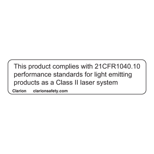 This Product Complies with 21CFR1040.10 Label (CDRH2009-H)