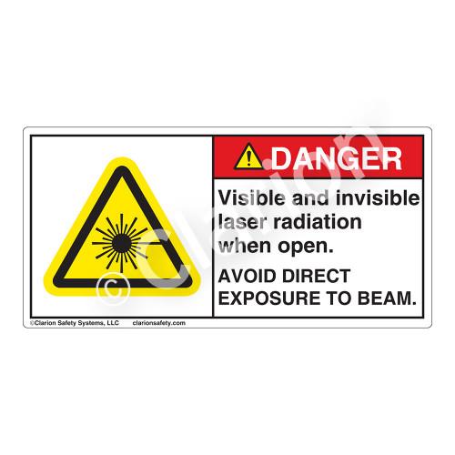 Danger/Visible & Invisible Laser RadiationLabel (CDRH3014-)