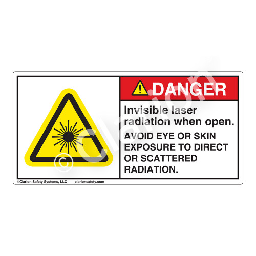 Danger/Invisible Laser Radiation when Open Label (CDRH4005-H)