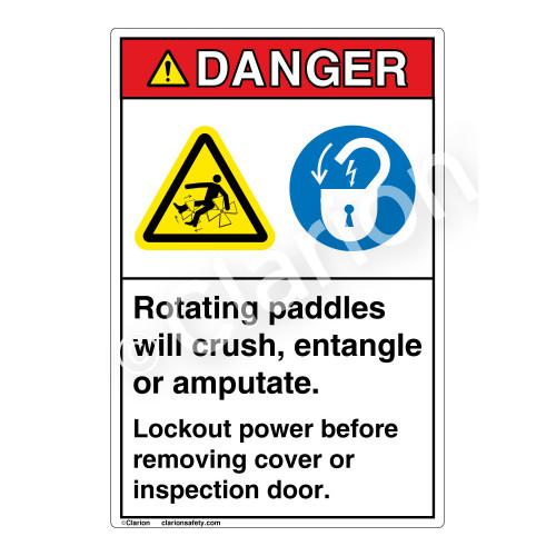 Danger Rotating Paddles Label (EMC 10)
