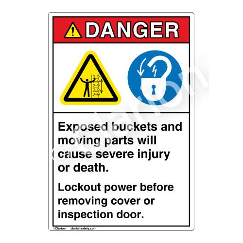 Danger Exposed Buckets Label (EMC 22)