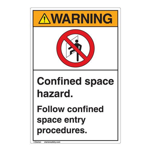 Warning/Confined Space Hazard Label (EMC 32 )