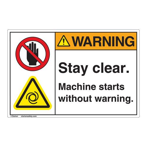 Warning Stay Clear Label (EMC 403)