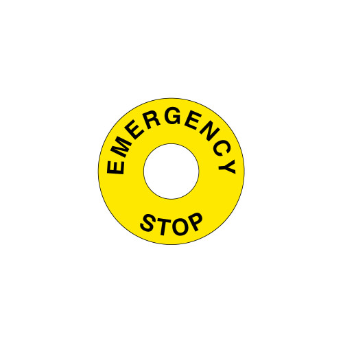Emergency Stop (60mm Circle w/22.5mm Hole) Label (ES60-22.5)
