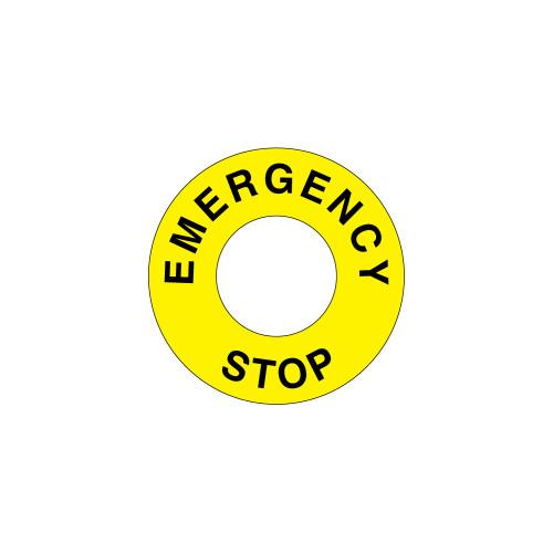 Emergency Stop (65mm Circle W/30.6mm Hole) Label (ES65-30.6)