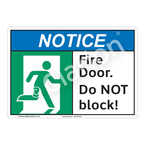 Notice Fire Door Sign (F1097-)
