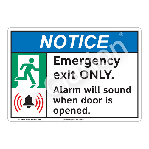 Notice Emergency Exit Sign (F1100-)
