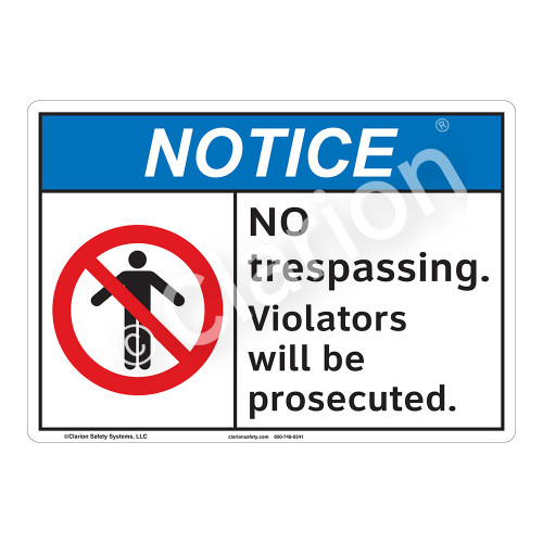 Notice No Trespassing Sign (F1116-)