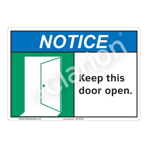Notice Keep Door Open Sign (F1130-)