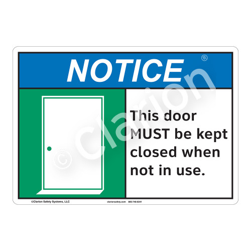 Notice Door Closed Sign (F1131-)
