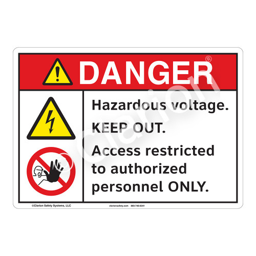 Danger Hazardous Voltage Sign (F1151-)