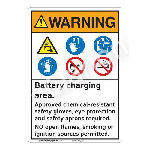 Warning Battery Charging Sign (F1166-)