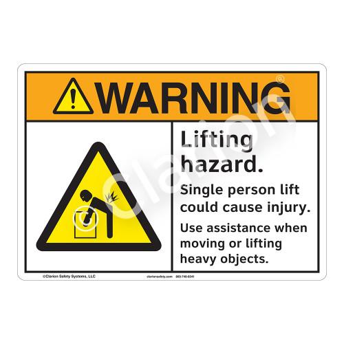 Warning Lifting Hazard Sign (F1168-)
