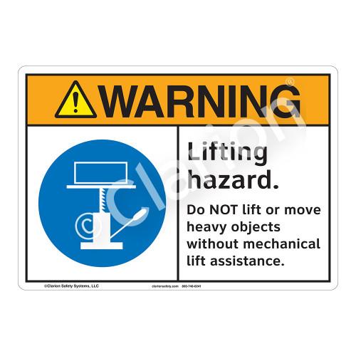 Warning Lifting Hazard Sign (F1169-)