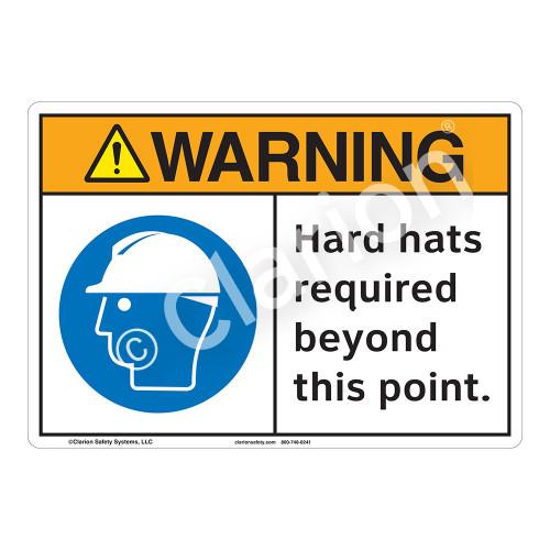 Warning Hard Hats Sign (F1190-)