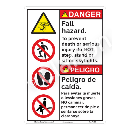 Danger/Fall Hazard Sign (F1232-)