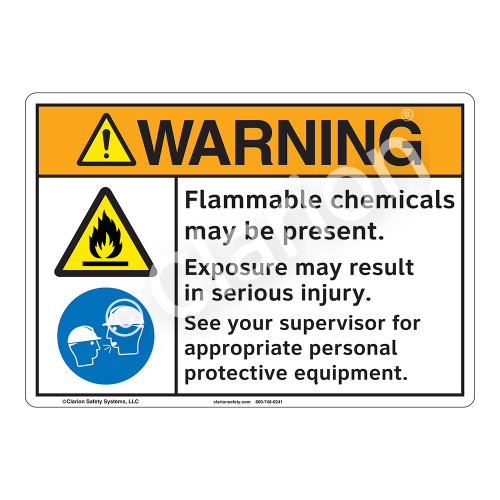 Warning/Flammable Chemicals Sign (F1258-)