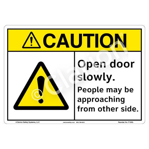Caution/Open Door Slowly Sign (F1333-)