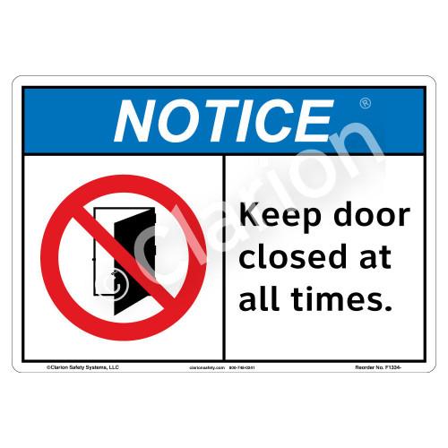 Notice/Keep Door Closed Sign (F1334-)